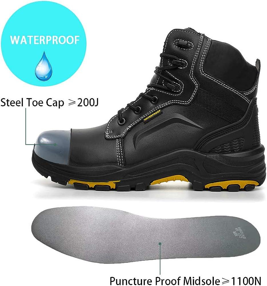 DRKA Mens Steel Toe Work Boots Waterproof Safety Shoes