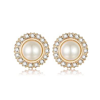 Clip On Pearl Earrings with Art Vintage Wedding Style , Cream Pearls