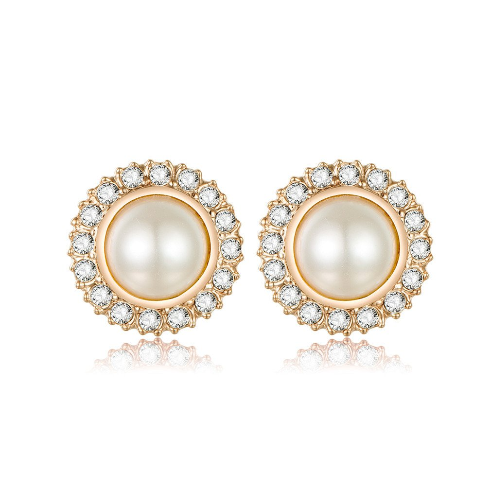 Clip On Pearl Bridal Earrings with Art Deco Vintage Wedding Style - Cream Pearls