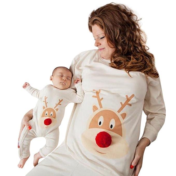 Navidad Ropa para toda la familia, Yannerr bebé niño mujeres hombre madre hija manga larga