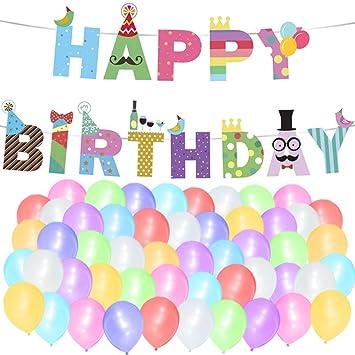 """Sterling James Co. Paquete de Globos y Guirnalda """"Happy Birthday"""" (Feliz Cumpleaños) para Celebraciones Artículos, Ideas y Decoraciones de Cumpleaños ..."""