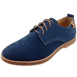 Dadawen Men's Blue Leather Oxford Shoe - 9 D(M) US