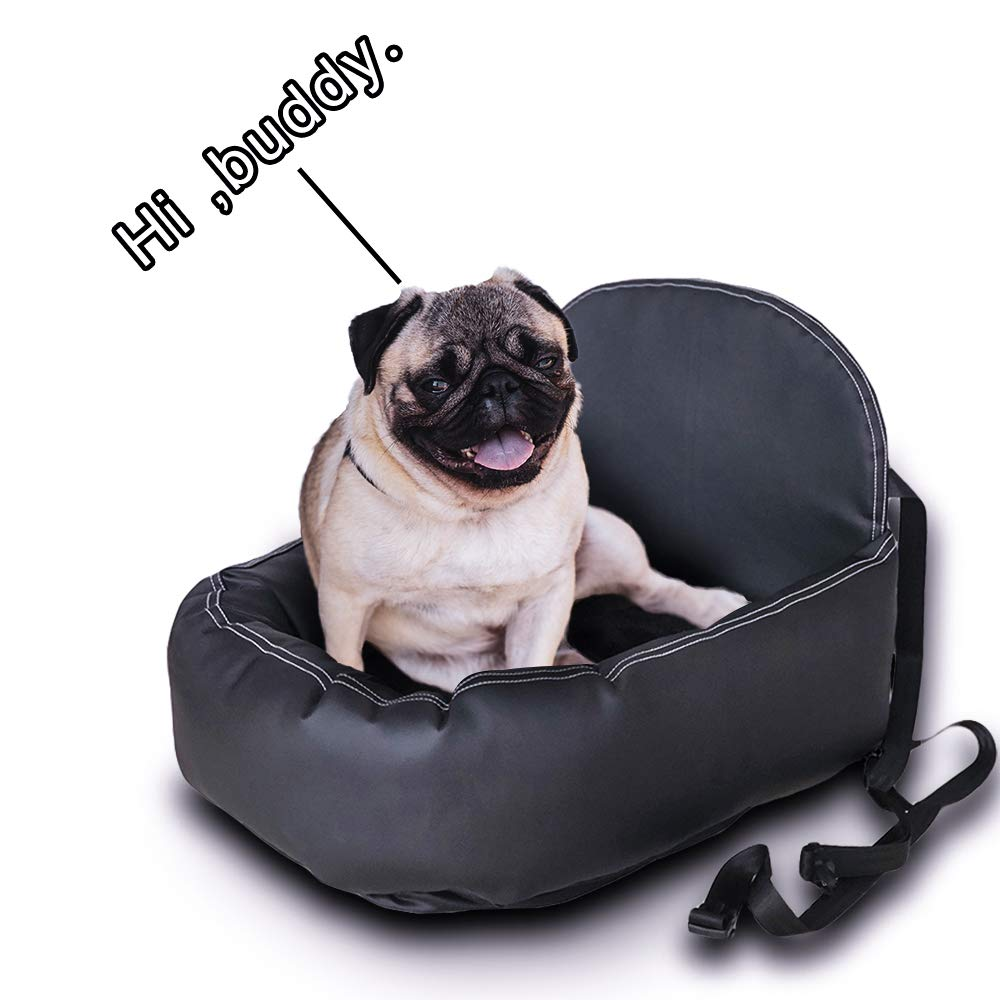 JUMPPUP Pet Car Seat Dog Bed Look Out Seat Dog Booster Seat for Vehicles with Adjustable Seat Belt, Black Leather