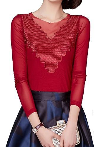 Helan Mujeres V-cuello de la blusa basica suave camisa de la tapa