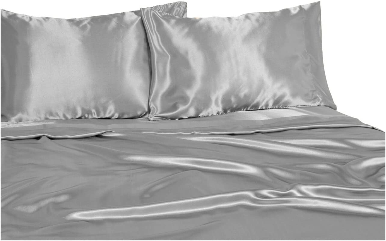 Elite Home Products 100% Luxury Satin Polyester Solid Sheet Set, Twin, Silver
