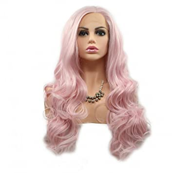 Amazon.com  Pink Wig Body Wave Natural Hairline High Temperature Synthetic  Lace Front Wigs for Women Ladies Girls Cosplay Replacement Sakura Pink  Color Half ... 1bcdbde626