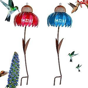 Sensation Pink coneflower Bird Feeder,Standing Bird Feeder,Anti-Squirrel Bird Feeder,Outside Rust Resistant Garden Art Metal Birdfeeder with Stand (Red+Blue)