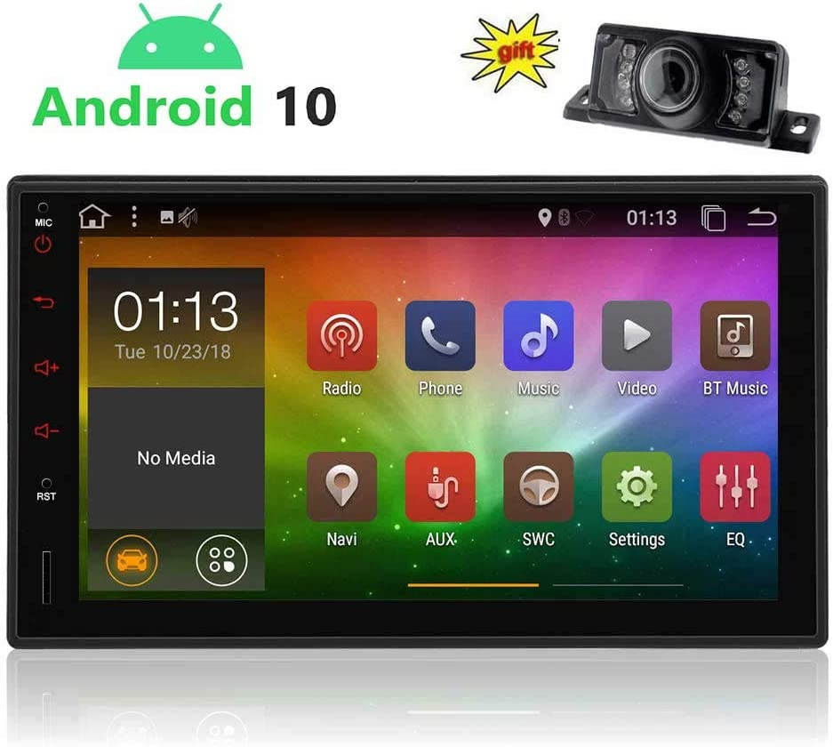 Android 10.0 Car Stereo Double Din GPS Radio 7 Inch HD Touch Screen in Dash Car Stereo with Bluetooth Navigation WiFi AM FM Radio Support Mirror Link Steering Wheel Control with Rear View Camera