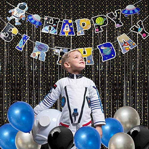 Outer Space Party Streamers Backdrop Kit, 2 Pack 3.3ft x 6.6ft Black Foil Fringe Curtain with Astronaut Banner and Balloons for Baby Shower Space Birthday Party Decor