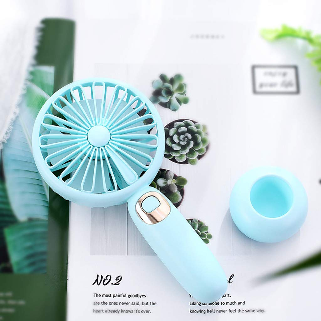 Weiliru Handheld Mini USB Rechargeable Fan Built-in Battery Portable with Music Fans