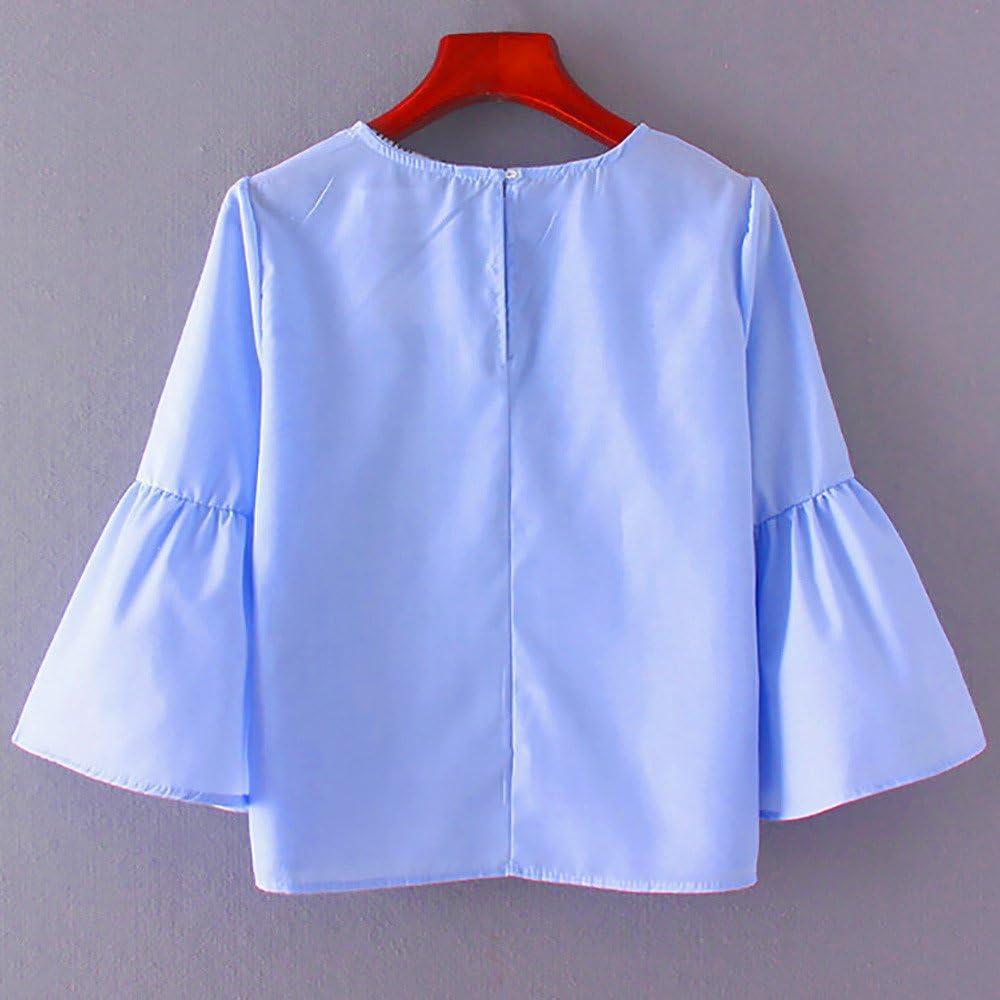 Anmain Donna Manica Corte Allentata Solido di Colore Girocollo A Maniche Corte Maglietta Casual Top