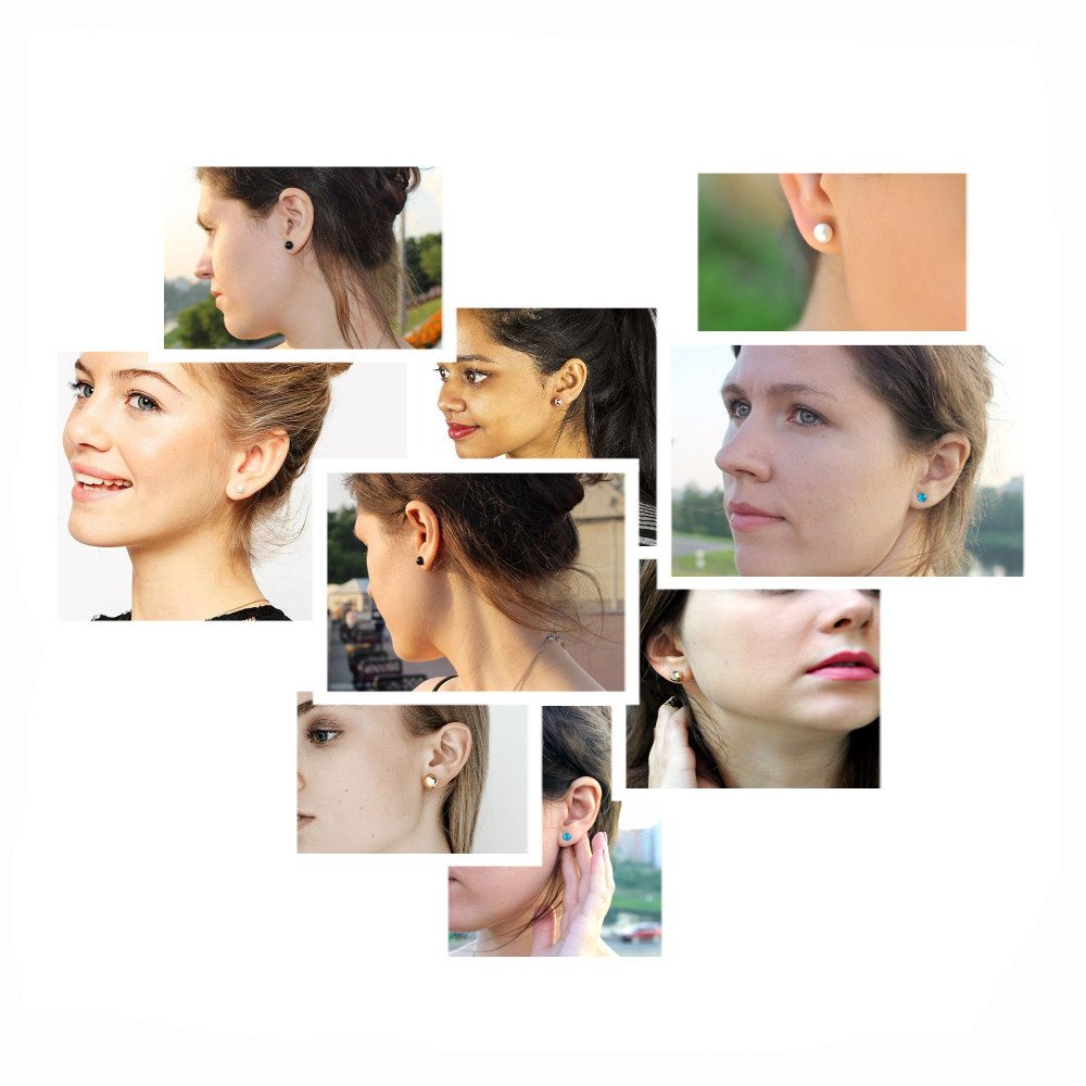 Stud Earrings Set Jewelry for Women Girl Gold bow knot yellow earrings Set Gold Silver Fashion Wedding by Unijew (Image #5)