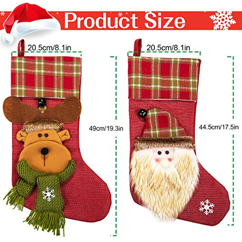 NONZERS Lovely Christmas Stockings-Classic Christmas Stockings,3 Pcs of Xmas Gift Candy Bag,Santa Snowman Reindeer Toys Stockings,3D Applique Style Christmas Stockings Decoration for Kids (17.7Lx7.5W) by NONZERS (Image #1)