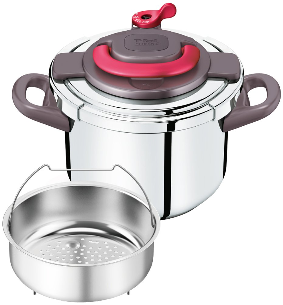 """T-fal pressure cooker""""Kuripuso arch"""" one-touch opening and closing IH corresponding paprika Red 6L P4360732"""