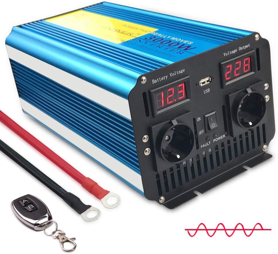 Yinleader inversor de Corriente Onda Pura 3000w 6000W Transformador De 12v A 230v convertidor USB LED 2 Enchufe con Control Remoto inalámbrico para Coche Caravana cámping de Viaje