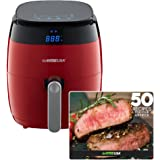 GoWISE USA 3.7-Quart 8-in-1 Digital Touchscreen Air Fryer, Red GW22826 + 50 Recipes For your Air Fryer Book