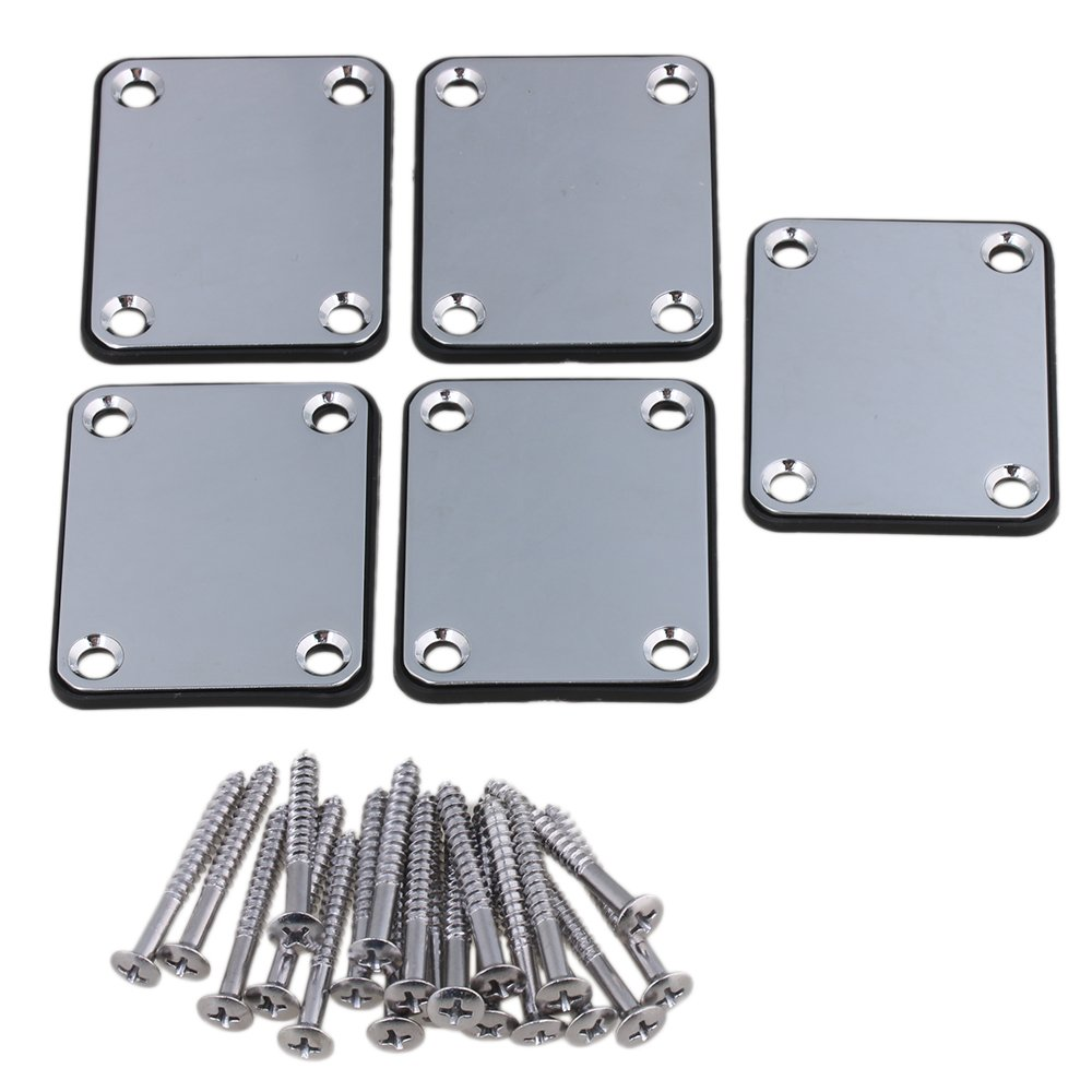 Yibuy Chrome Square Shape DIY Neck Plate & Screw for Electric Guitar Replacement Parts Set of 5 etfshop Yibuy66