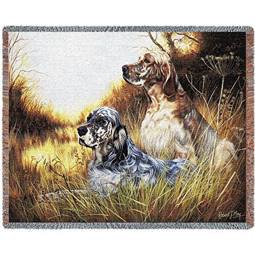 Pure Country Weavers - English Setter Woven Tapestry Throw Blanket with Fringe Cotton USA Size 72 x 54