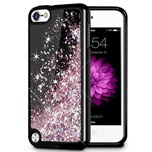 iPod Touch 5 6 7 Case, Caka iPod Touch 7 Glitter Case Starry Night Series Luxury Fashion Bling Flowing Liquid Floating Sparkle Glitter Girly Soft TPU Case for iPod Touch 5 6 7 (Rose Gold) (Sparkly Ipod 5 Cases)