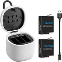 TELESIN allin Box Charger for gopro,gopro Multifunction Battery Kit,3-Channel LED USB Charger,Storage + Charging + SD Card Reader,for GoPro Hero 7 Black/Hero 2018/Hero 6/5