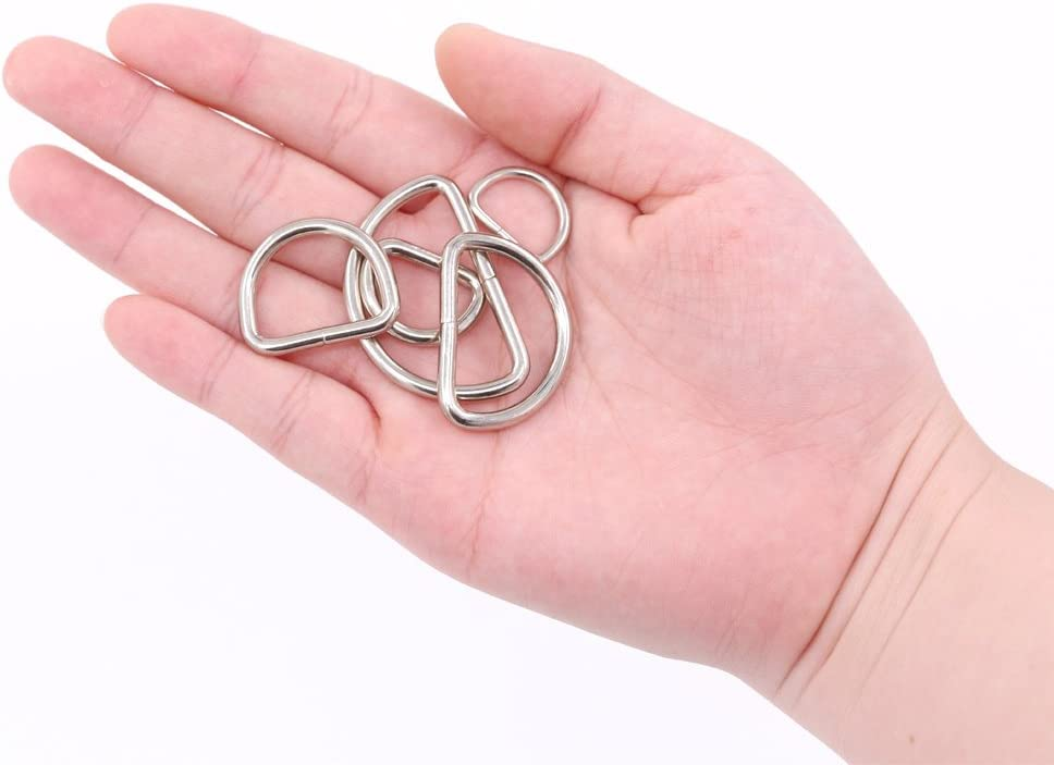 5//4 Inch 1//2 Inch 5//8 Inch 1 Inch 3//4 Inch Swpeet 120 Pcs Assorted Multi-Purpose Metal D Ring Semi-Circular D Ring for Hardware Bags Ring Hand DIY Accessories