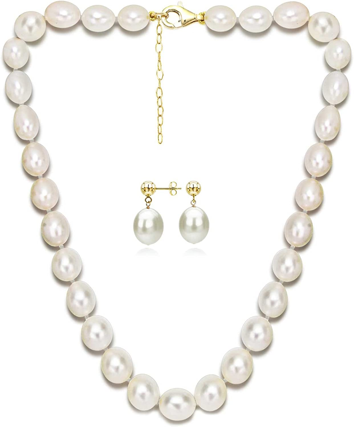 18k Yellow Gold Plated Silver 10-10.5mm White Freshwater Cultured Pearl Necklace Set 2 Extender 18