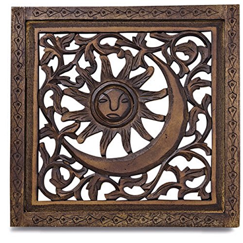 Whole House Worlds The Global Chic Sun, Moon Arabesque Art Panel, Hand Carved Sustainable Mango Wood, 21 3/4 Inches Square, 3/4 Inch Profile, By WHW -