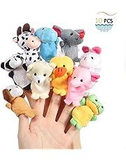 Twister.CK Burattini per dita, Puntelli per il tempo di Baby Story, 10 pezzi Puntali di bambole in velluto morbido stile animali per bambini piccoli