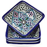 Le Souk Ceramique Malika Design Square Sauce Dishes, Set of 4