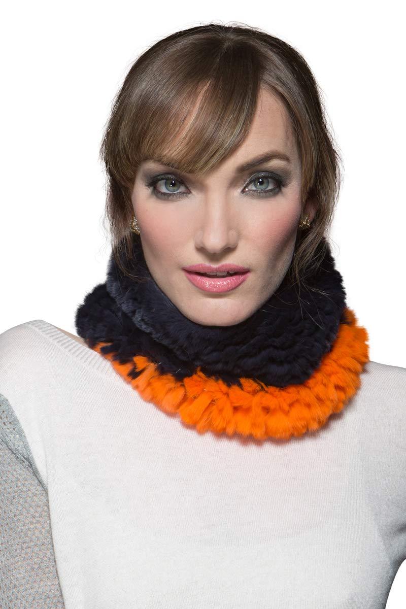 Glamourpuss NYC Women's Bronco Orange and Navy Rex Rabbit Fur Funnel