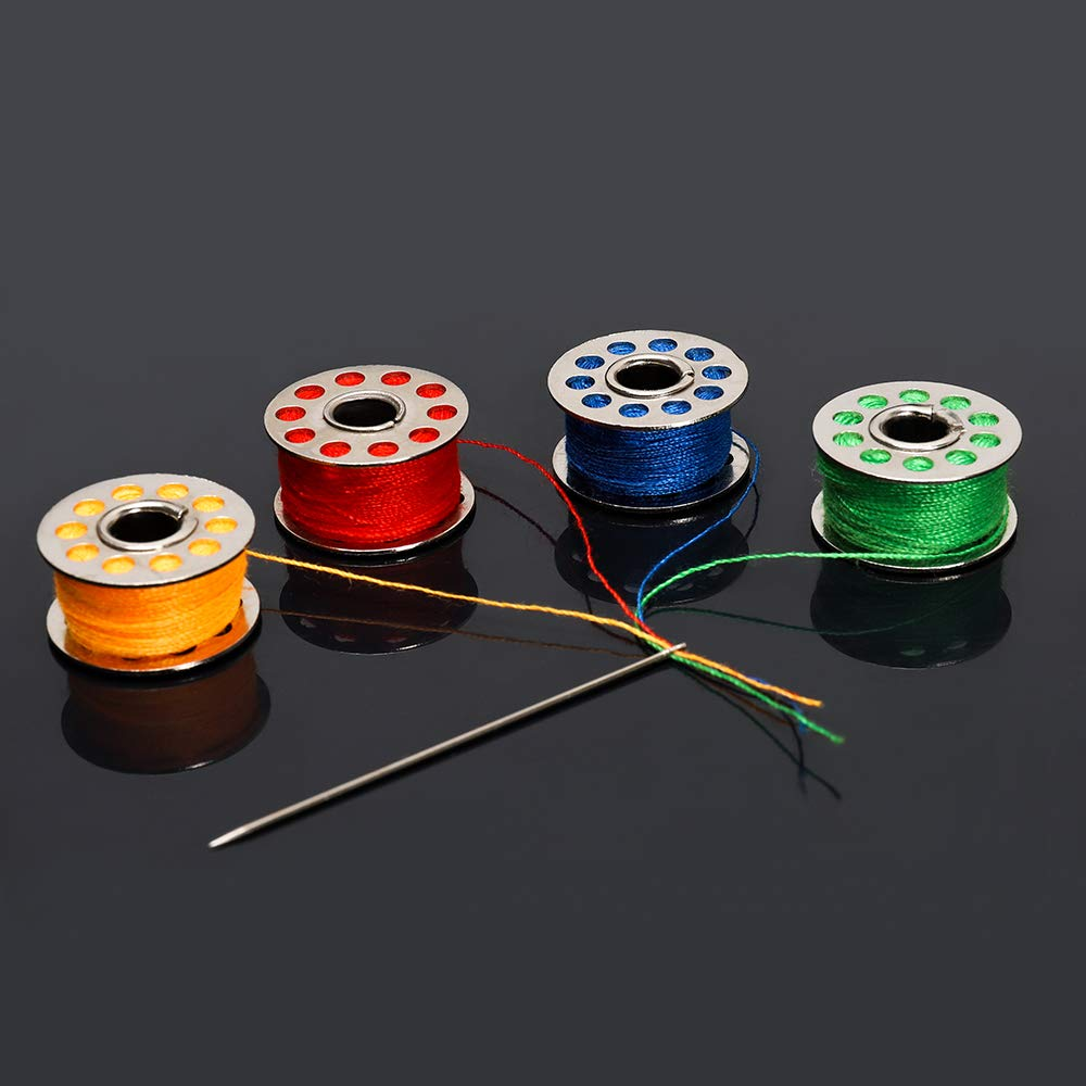 HT-BSK06S HAITRAL 25 Pcs Sewing Thread Bobbins with Bobbin Case Sewing Thread Kit for Multiple Sewing Machine Standard Size and Assorted Colors
