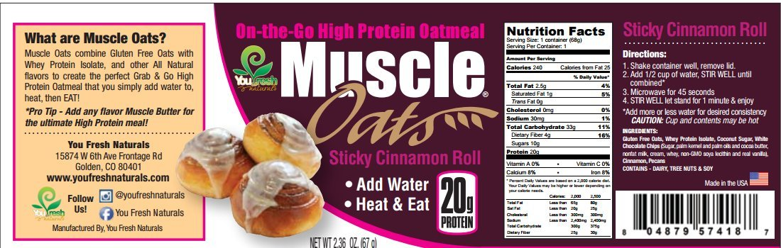 You Fresh Naturals - Sticky Cinnamon Roll Muscle Oats - High Protein (20 grams) Gluten-Free Oatmeal Snack - Easy Prepare - 8 Pack