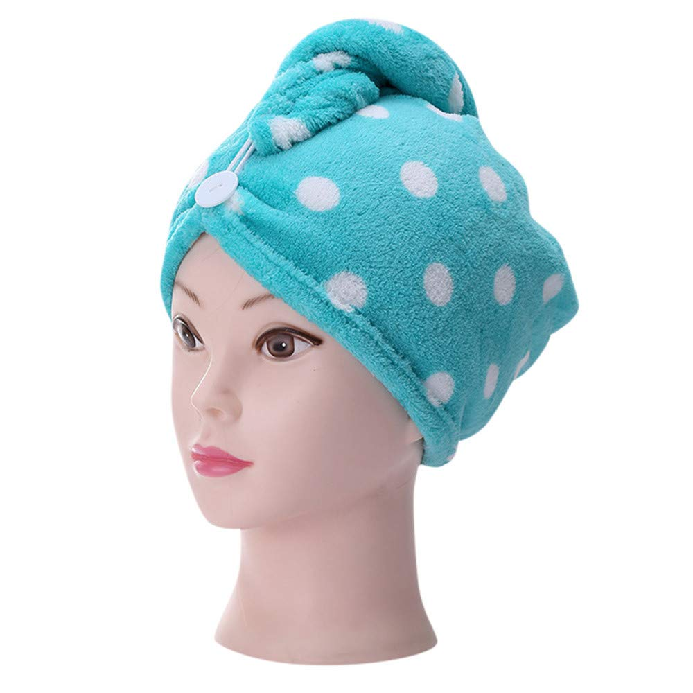 Gotian Microfiber Bathing Dry Hair Cap Quick Drying Wrapped Towel Adult Shower Bathing Head Cap (Green)
