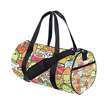 Amazon.com   Gym Duffel Bag Kawaii Sushi Training Duffle Bag BaLin Round Travel  Sport Bags for Men Women   Sports Duffels 548b5106dc