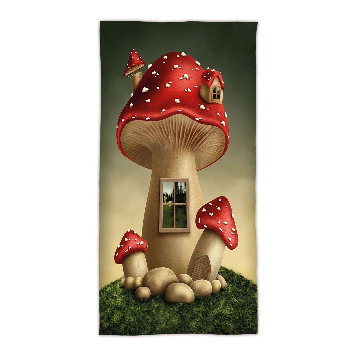 31.49''W x 62.99''L Cotton Microfiber Bath/Hand Towel,Mushroom,Alone Fantasy Mushroom House in Fantasy Forest Cottage Window Surreal Decorative,Light Brown Green Red,Ultra Soft,For Hotel Spa Beach Pool
