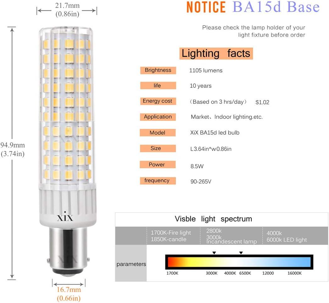 Ymm Bombilla LED B15D brillo ultra alto de 8.5W 1105 lúmenes, AC 90-265V ángulo de 360 grados,CRI> 90Ra, blanco cálido 3000K, repuesto para bombillas halógenas de 100W,no regulable(1 paquete): Amazon.es: Iluminación