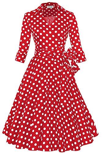 cocktail YOGLY Blanc Ceinture et Retro annes pois demoiselle Hepburn v 50 1950's Vintage une pin up Audrey d'honneu soire de col Avec Rouge robe rArwq
