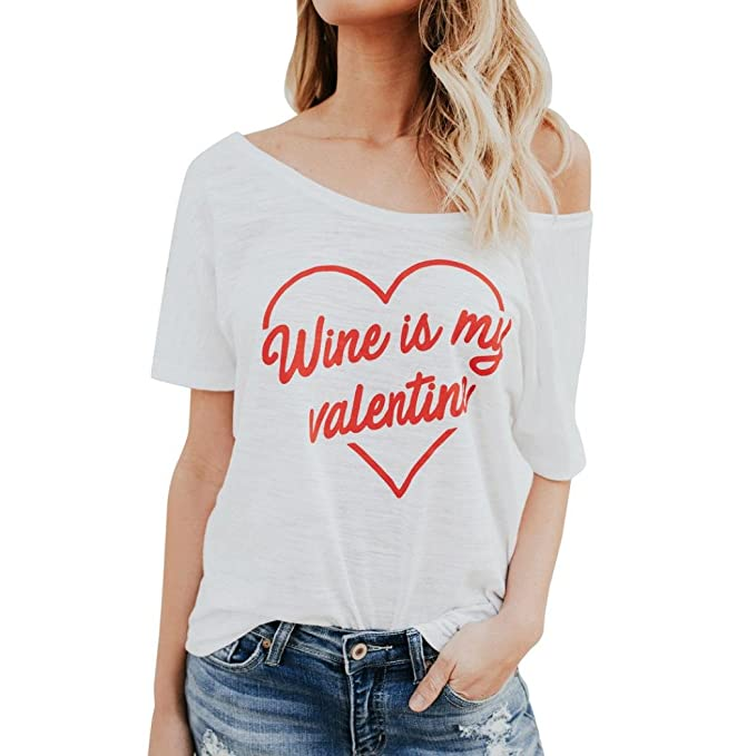 6f966c5c7853a4 Womens Girls Tee Heart Love Letter Printed Wine is My Valentine Slogan  Strapless Short Sleeve T-Shirt Crop Tops Ladies Loose Casual Pullover Plus  Size ...