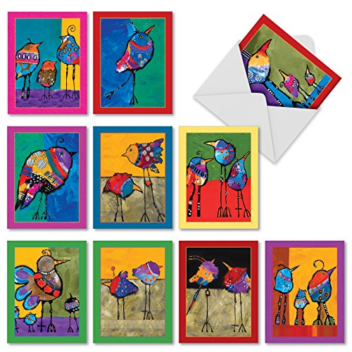 M3319 Bohemian Birds: 10 Assorted Blank All-Occasion Note Cards Feature Funky, Colorful Abstract Birdies, w/White Envelopes.
