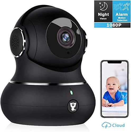 Pet Camera, Littlelf 1080P Indoor Wireless Home Security IP Surveillance Camera for Baby Elder Nanny Monitor with Motion Detection, 2-Way Audio, Manually Night Vision Cloud Storage Carbon Black