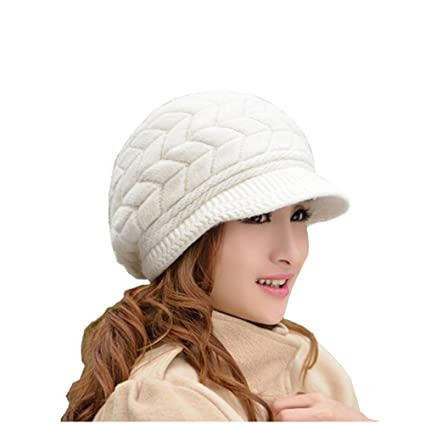 LEORX Cálido invierno de punto sombrero de vendedor de periódicos gorro  nieve esquí Cap para mujer 870a5770e12
