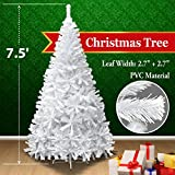 NEW 7.5 White Classic Pine Christmas Tree Artificial Realistic Natural Branches-Unlit 230CM 1200 Tips With Metal Stand