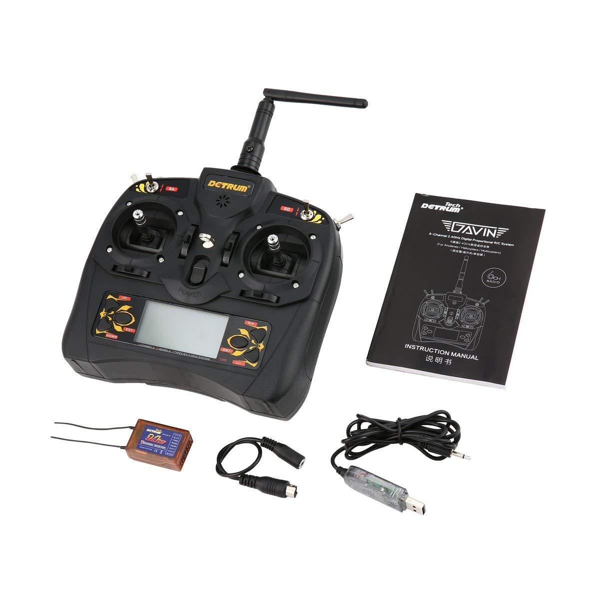JullyeleDEgant Detrum Gavin 6C 6 Kanal 2,4 G Digitalfernbedienung + RXC7 Empfänger + USB Verbindungsleitung für RC Flugzeug Stiefel Modell