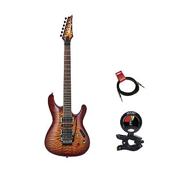 Ibanez s670qmdeb S Serie ráfaga de ojo de dragón de 6 cuerdas Guitarra eléctrica paquete de clip con sintonizador y instrumento Cable Bundle: Amazon.es: ...