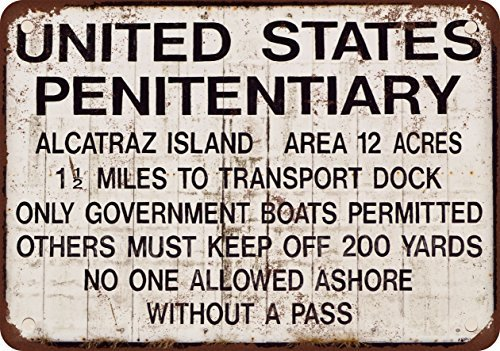 (Alcatraz Prison Vintage Look Reproduction Metal Tin Sign 12X18 Inches)