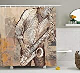 Pillowcase Music Shower Curtain, Jazz Musician Playing the Saxophone Solo in the Street on Grunge Background Art Print, Fabric Bathroom Decor Set with Hooks,Brown Ecru 60X72 Inch