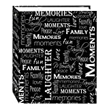 foto fast - Magnetic Self-Stick 3-Ring Photo Album 100 Pages (50 Sheets), Black & White Words Design