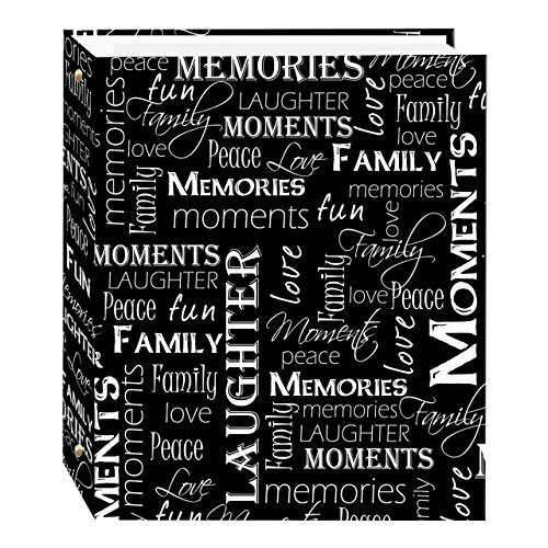 Magnetic Self-Stick 3-Ring Photo Album 100 Pages (50 Sheets), Black & White Words Design ()