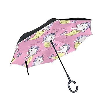 Mnsruu Paraguas invertido de Doble Capa con patrón de Unicornio Rosa, Paraguas Plegable, Resistente