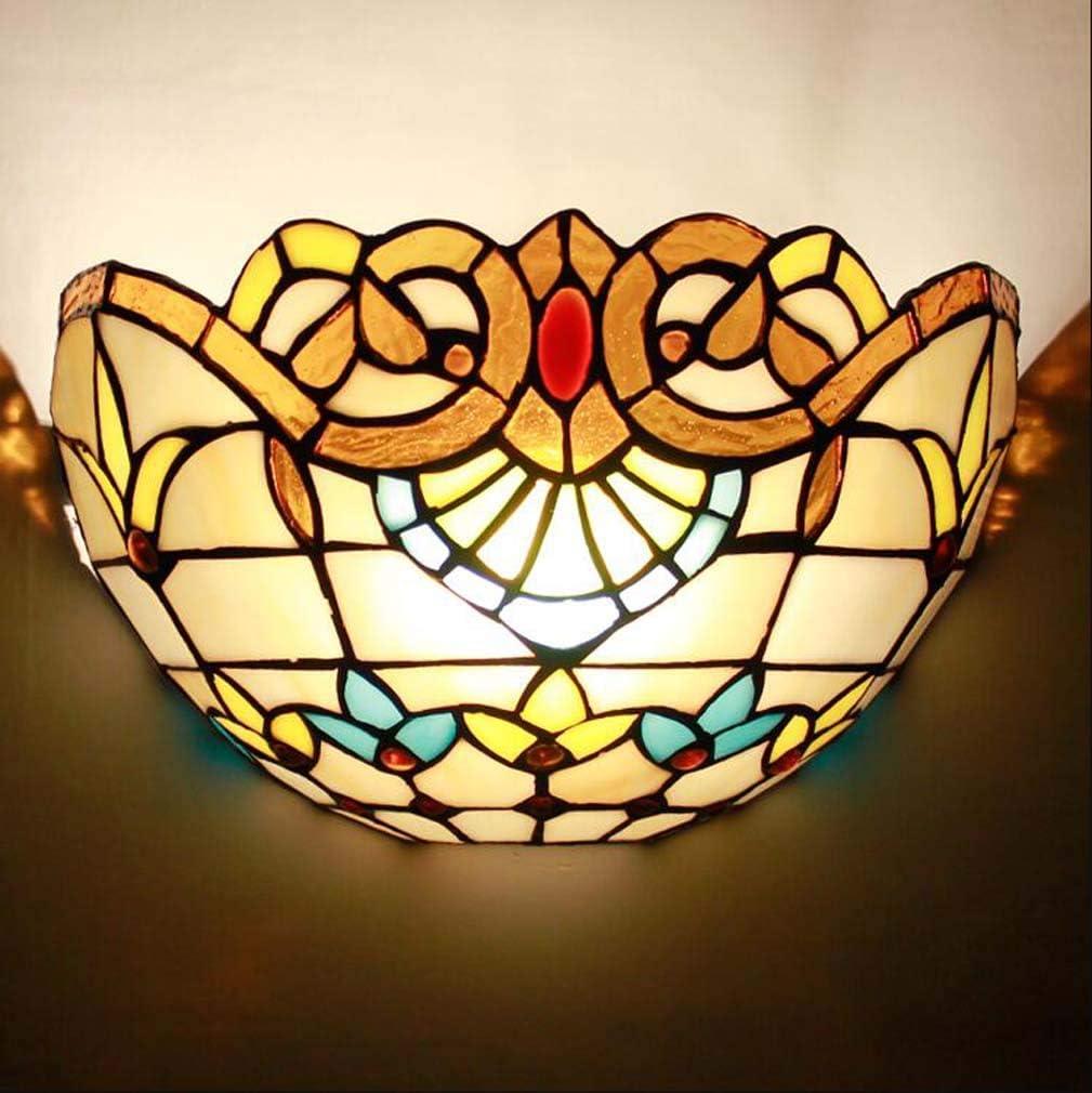Lámpara de pared de 1 luz Pantalla de vidriera estilo Tiffany, Apliques de pared antiguos Iluminación para decoración Sala de estar Dormitorio Pasillo de noche, Ancho 12
